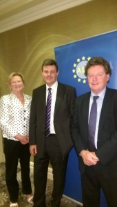 Kevin Bakhurst with colleagues Eileen Dunne and David Davin Power