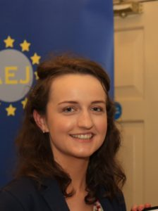 Ambassador Chillcott presents membership to Claire Fox, Mitchelstown, Co Cork, who recently won the European Commission student media award for an article on the EU at the recent Student Media Awards. She is a final year student at UCC.